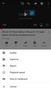 Change the video speed at your wish on mobile: YouTube