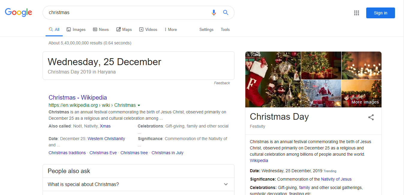 Christmas Search Result Ads Drops By Google