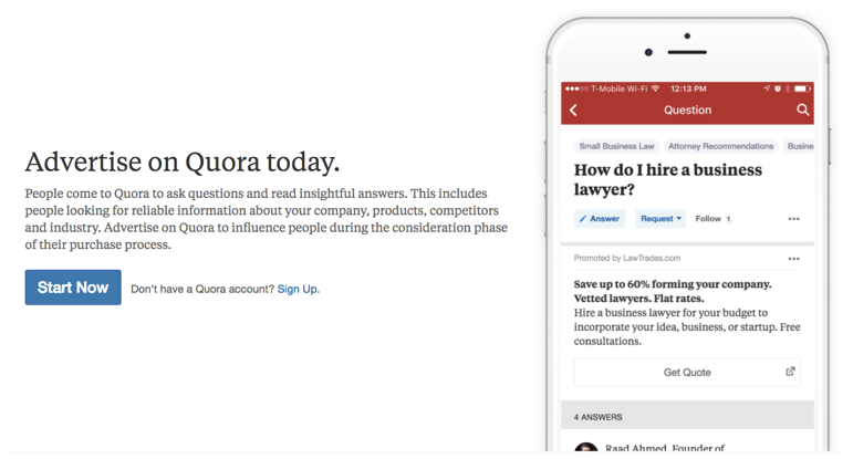 Advertise on Quora today