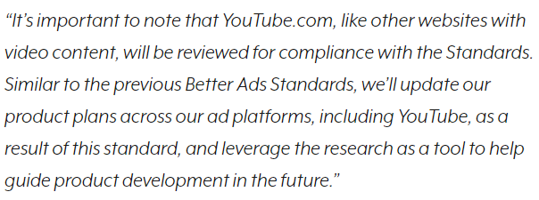 Google Explains That New Standards Will Apply On YouTube Ads As Well