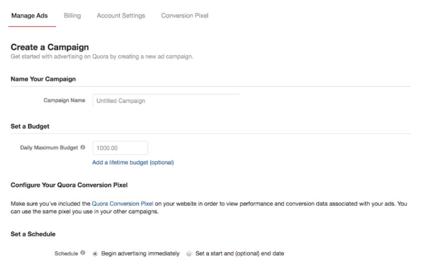 Launching the Ad on Quora Platform