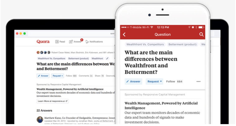 Quora's Decision on Display Ads For The Apt Questions