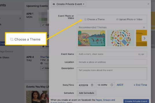 Choose A Private Event Theme Option