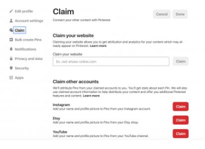 Claiming Website Over Pinterest