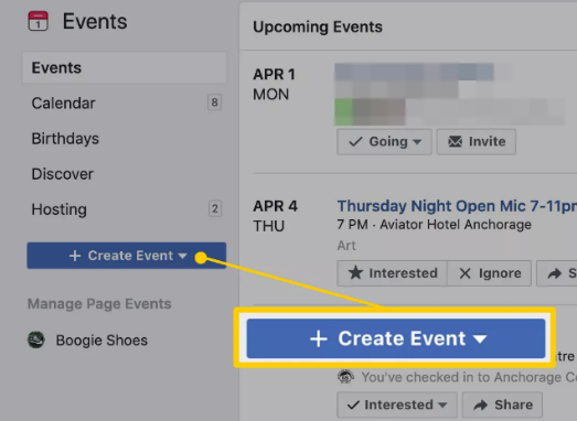 Facebook Create Events Tab