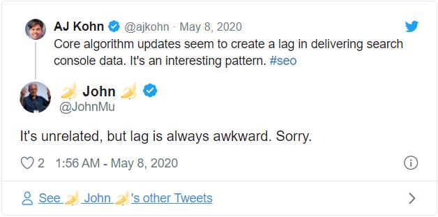 Search Console Lag
