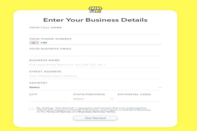 Entering Business Details