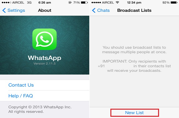 WhatsApp Broadcasting List