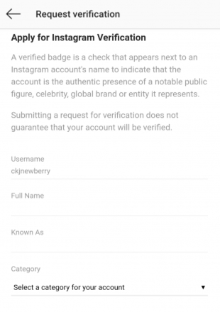 Request verification details on Instagram