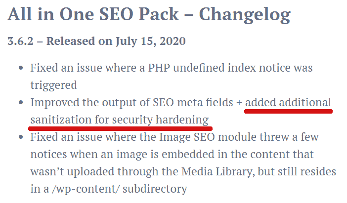 Screenshot of Compact SEO Pack - changelog