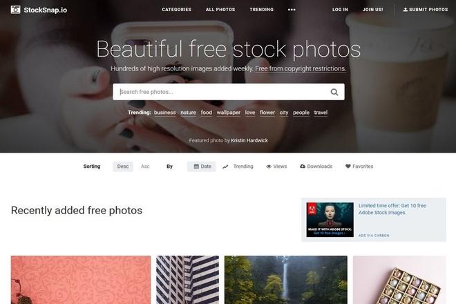 StockSnap.io: A stock photo site