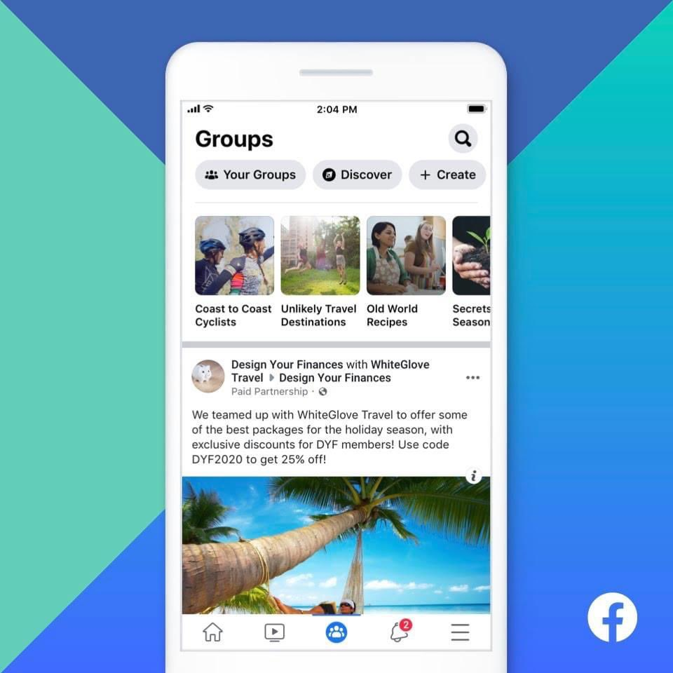 Facebook Includes 'Paid Partnership' Tag For Groups Feed