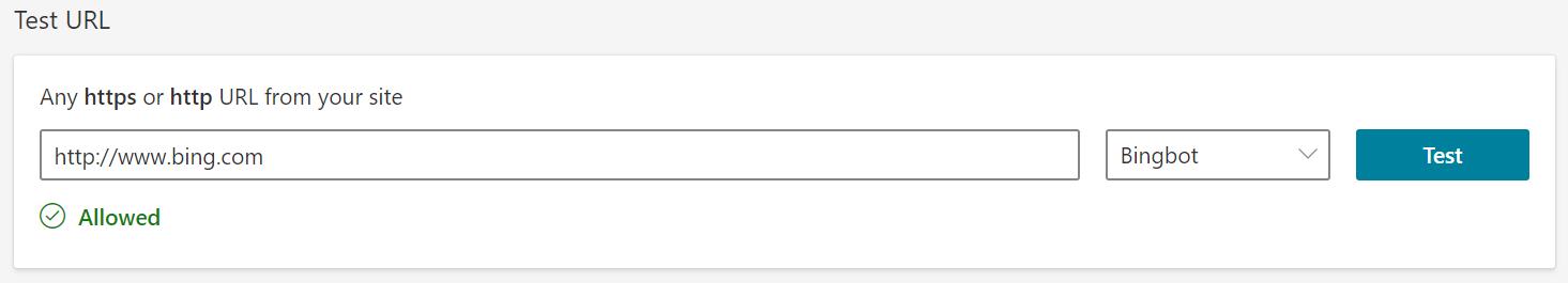 Bing Test URL