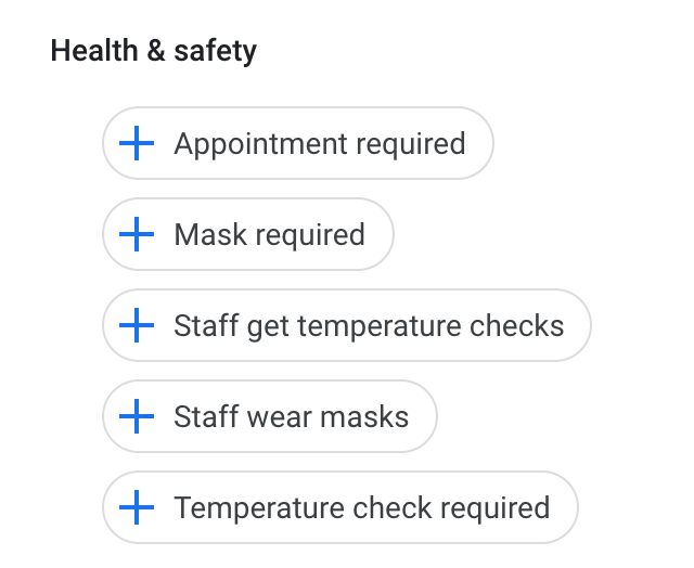 New Heath and Safety Attributes In Google My Business