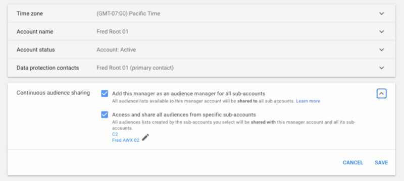 Google Ads' continuous audience sharing