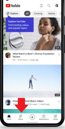Youtube Shorts Tab Button
